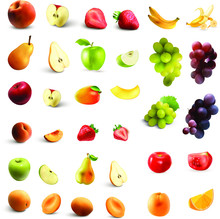 Collection Of Fresh Fruits Iso...