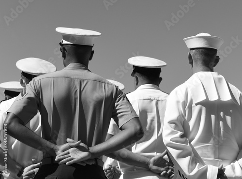 US Navy sailors from the back. US Navy army. Wallpaper Mural