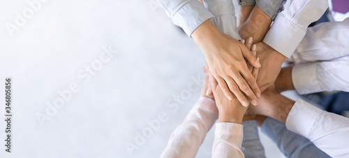 Obraz Stack of hands. Unity and teamwork concept. - fototapety do salonu