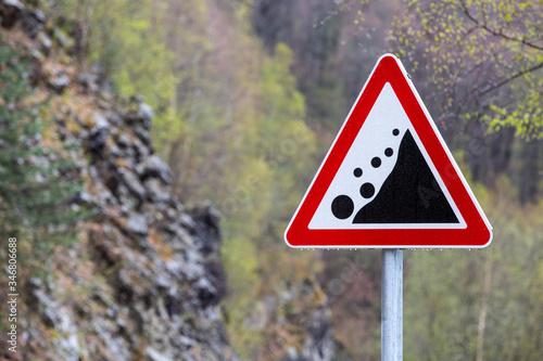 Obraz na plátně Warning road sign rockfall collapsed
