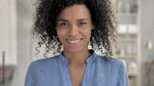 Portrait of Smiling African Woman Canvas Print
