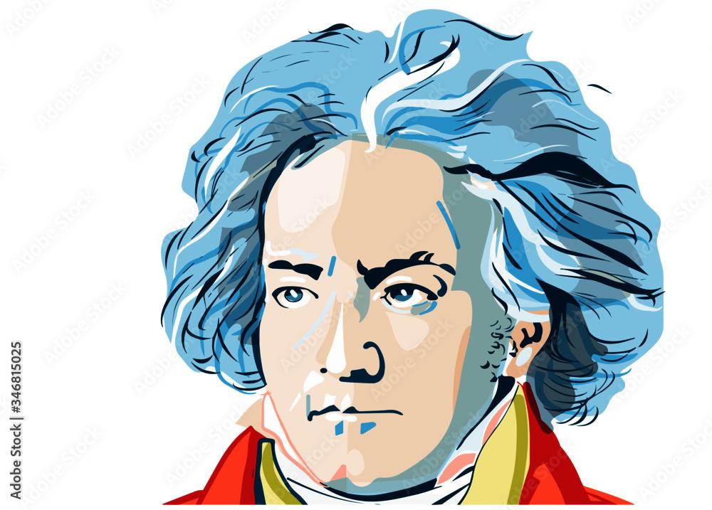 Fototapeta colored portrait of Ludwig van Beethoven