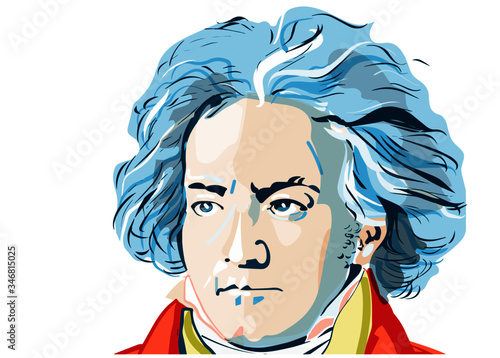 Photo colored portrait of Ludwig van Beethoven