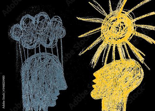 Fototapeta Disegno grafico due persone con emozioni opposti