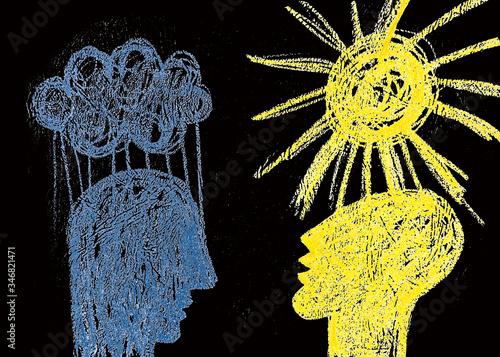 Obraz na plátně Due emozioni opposte felicità e tristezza