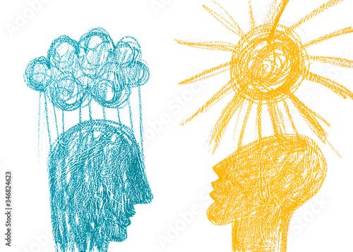 Fotografie, Obraz Disegno con matita colorata due emozioni opposti