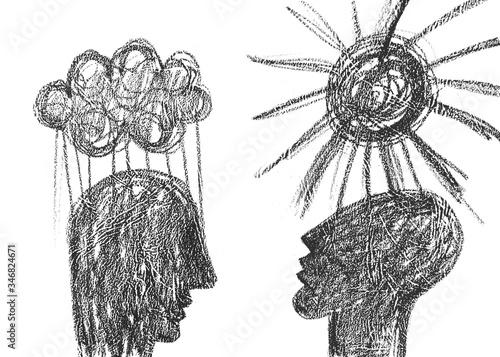 Fotografie, Obraz una persona triste e una persona felice disegno grafico