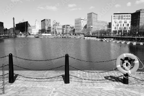 Liverpool. Black and white retro style.