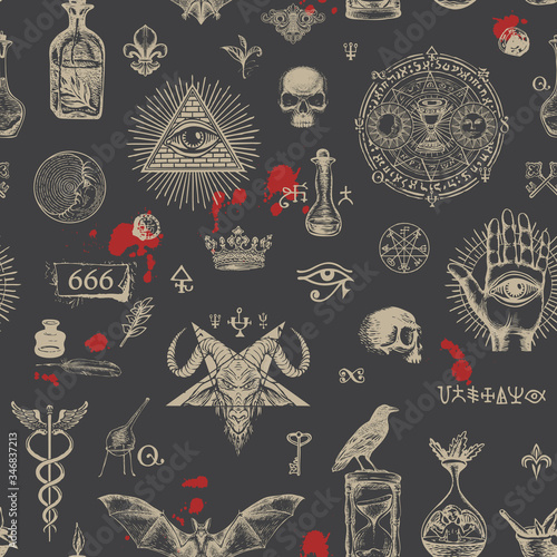 Vector seamless pattern on a theme of satanism, occultism and freemasonry in retro style on black background Wallpaper Mural