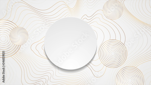 Fotografía Golden curved waves and circles abstract background