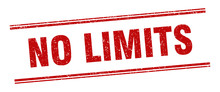 No Limits Stamp. No Limits Label. Square Grunge Sign