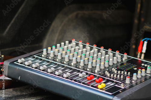 Photo Soft Focus and Blur,Audio control panels and power amplifiers for display management are installed and prepared as audio and power amplifier panels must be checked before every actual performance