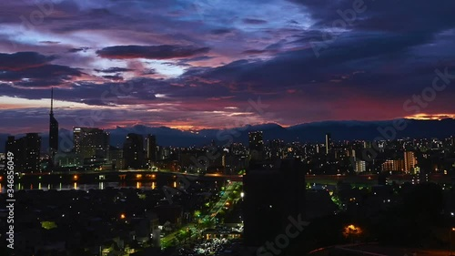 Fototapete - 都市風景 福岡市 タイムラプス