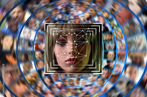 Fotomural Illustration of a system identifying female face with many other blurred faces o