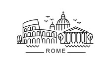 City Of Rome In Outline Style ...