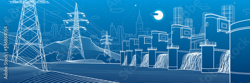 Fototapeta Hydro power plant. River Dam. Energy station. Power lines. People at shore. City infrastructure industrial panorama. Urban life. White outline on blue background. Vector design art obraz