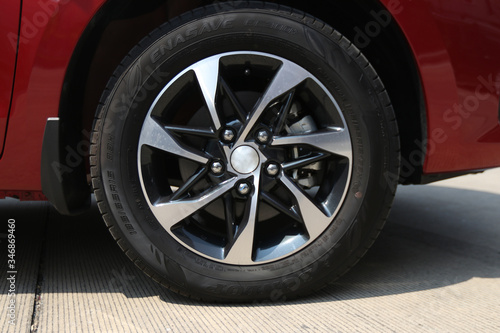 Alloy wheels on the back of an SUV Canvas Print