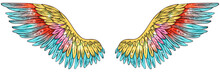 Beautiful Magilc Glowing Glittery Shiny Bright Yellow Red Blue Vector Wings