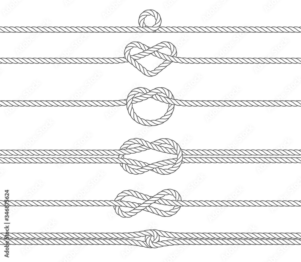 Fototapeta Nautical rope frames and borders, seamless pattern. Marine rope. Sailing sport vector decoration elements.