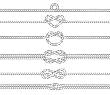 Nautical Rope Frames And Borders, Seamless Pattern. Marine Rope. Sailing Sport Vector Decoration Elements.