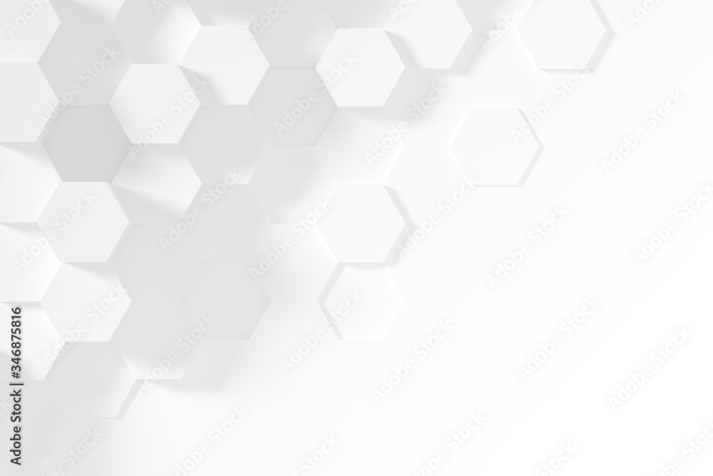 Hexagonal white abstract background - 3d abstract hexagons rendering.