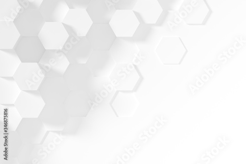 Fototapeta Hexagonal white abstract background - 3d abstract hexagons rendering