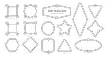 Nautical Ropes, Creative Outline Borders Set. Marine Empty Contour Frames Isolated Pack. Thin Line Square, Circle, Star Shapes. Vector Illustrations Collection.