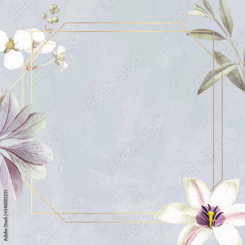 Frame with lily and bulltongue arrowhead background vector Canvas Print