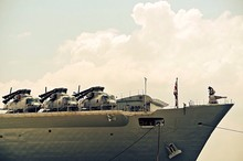 Low Angle View Of Helicopters On Aircraft Carrier