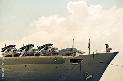 Canvas-taulu Low Angle View Of Helicopters On Aircraft Carrier