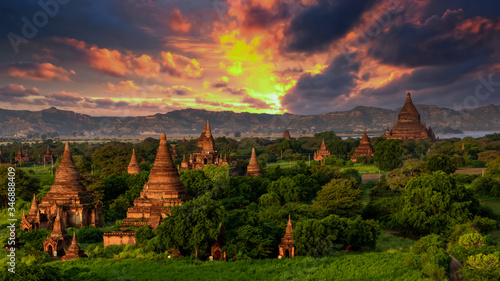 Asian ancient architecture archaeology temple in Bagan at sunset, Myanmar ananda temple in the Bagan Archaeological Zone Pagodas and temple of Bagan world heritage site, Myanmar, Asia Wallpaper Mural