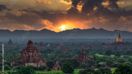 Asian ancient architecture archaeology temple in Bagan at sunset, Myanmar ananda temple in the Bagan Archaeological Zone Pagodas and temple of Bagan world heritage site, Myanmar, Asia Canvas Print