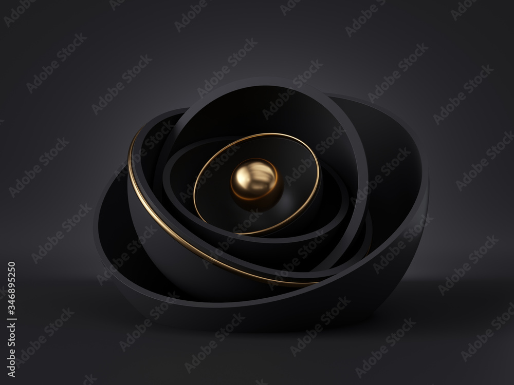 Fototapeta 3d render, abstract black gold minimal modern background, golden core ball hidden inside black hemisphere shell, isolated objects, stack of bowls, simple clean style, premium design, classy decor