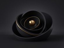 3d Render, Abstract Black Gold Minimal Modern Background, Golden Core Ball Hidden Inside Black Hemisphere Shell, Isolated Objects, Stack Of Bowls, Simple Clean Style, Premium Design, Classy Decor