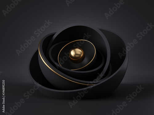 Fototapeta 3d render, abstract black gold minimal modern background, golden core ball hidden inside black hemisphere shell, isolated objects, stack of bowls, simple clean style, premium design, classy decor obraz