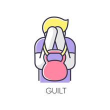 Guilt RGB Color Icon. Man Feel...