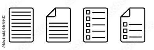 Fototapeta Document Symbol Set. Document vector icons isolated design.Edit document symbol, logo illustration. Flat style icons set.Vecor obraz