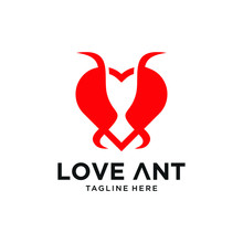Vector Illustration Logo Ant With Love