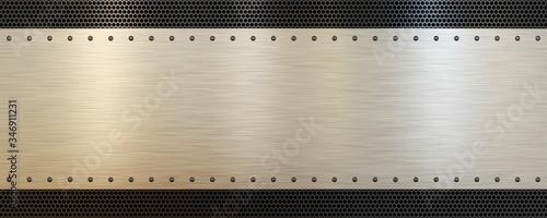 Brushed metal plate on perforated metal background texture Slika na platnu