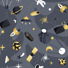 Cute Space Seamless Pattern. C...