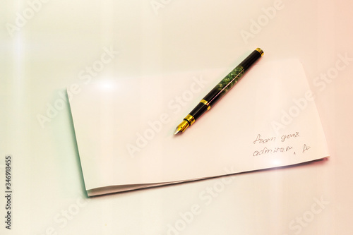 writing letters with pen ink from admirer message Canvas Print
