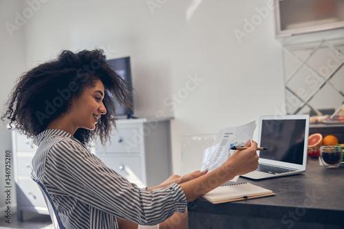 Pleased lovely female entrepreneur working from home Slika na platnu