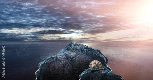 Valokuvatapetti Sea futuristic, minimalistic landscape, dark blue sky, sea waves, large stones and a shell