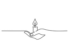 Continuous One Line Drawing. Hand Holding Burning Candle