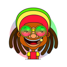Face Symbol Of A Man With Dreadlocks Hairstyle For Rastafarian And Reggae