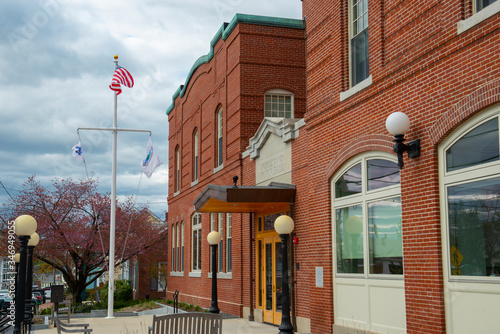 North Andover town hall on 120 Main Street in town center of North Andover, Massachusetts MA, USA Canvas Print