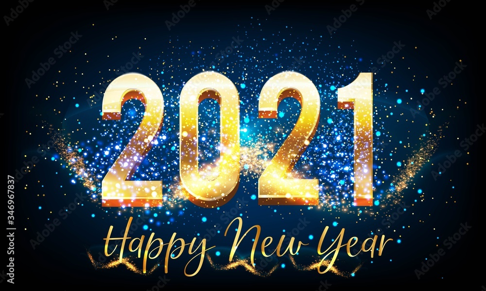 Fototapeta Shining Happy New Year 2021 Background with Golden text vector illustration - New Year 2021 Background with Golden text vector illustration - 2021 happy New Year Background