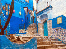 Morocco, Chefchaouen Province, Chefchaouen, Steps Toward Narrow Alley Between Old Blue-colored Houses