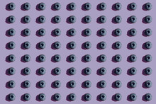 Blueberries In A Row, Pattern On Purple Background