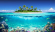 Tropical Island And Coral Reef - Split View With Waterline